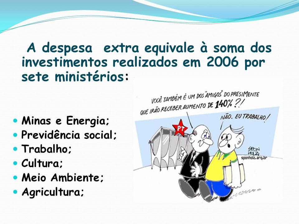 A despesa extra equivale à soma dos investimentos realizados em 2006 por sete ministérios: