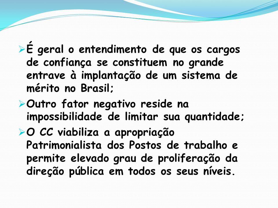 É geral o entendimento de que os cargos de confiança se constituem no grande entrave à implantação de um sistema de mérito no Brasil;