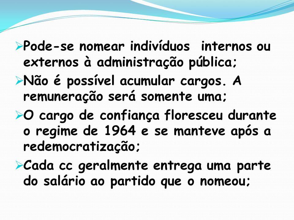 Pode-se nomear indivíduos internos ou externos à administração pública;