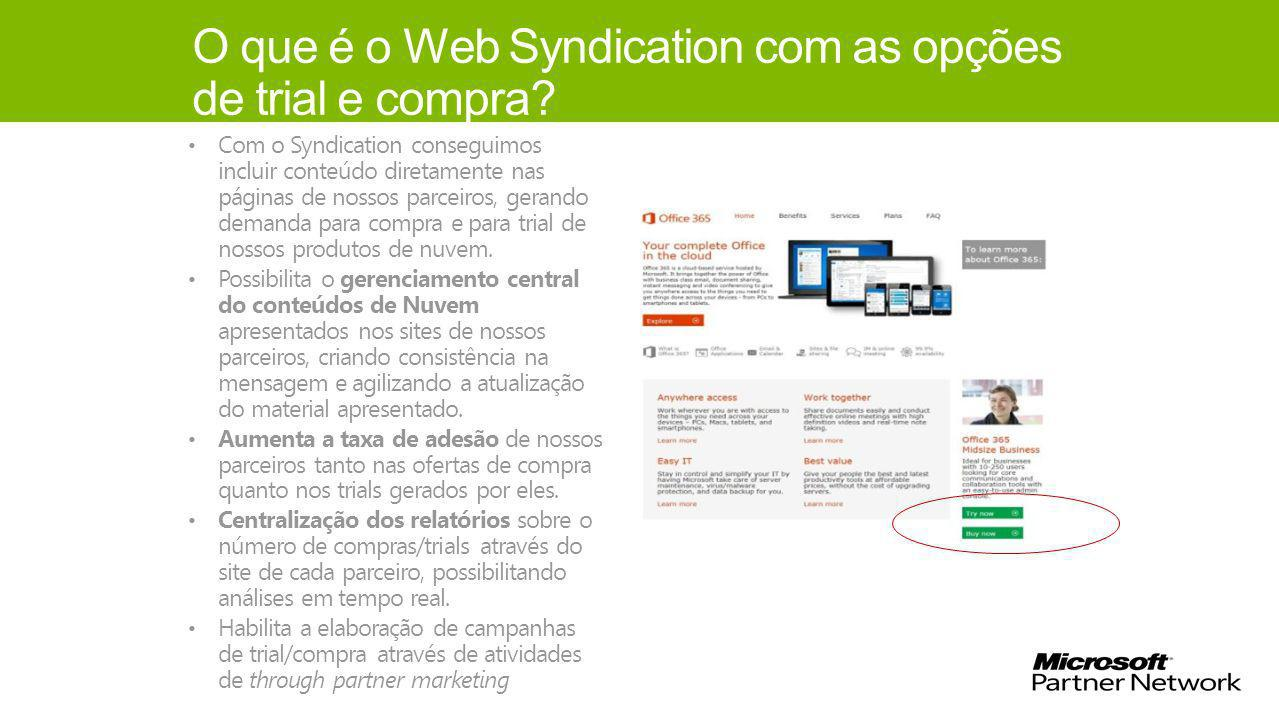 O que é o Web Syndication com as opções de trial e compra