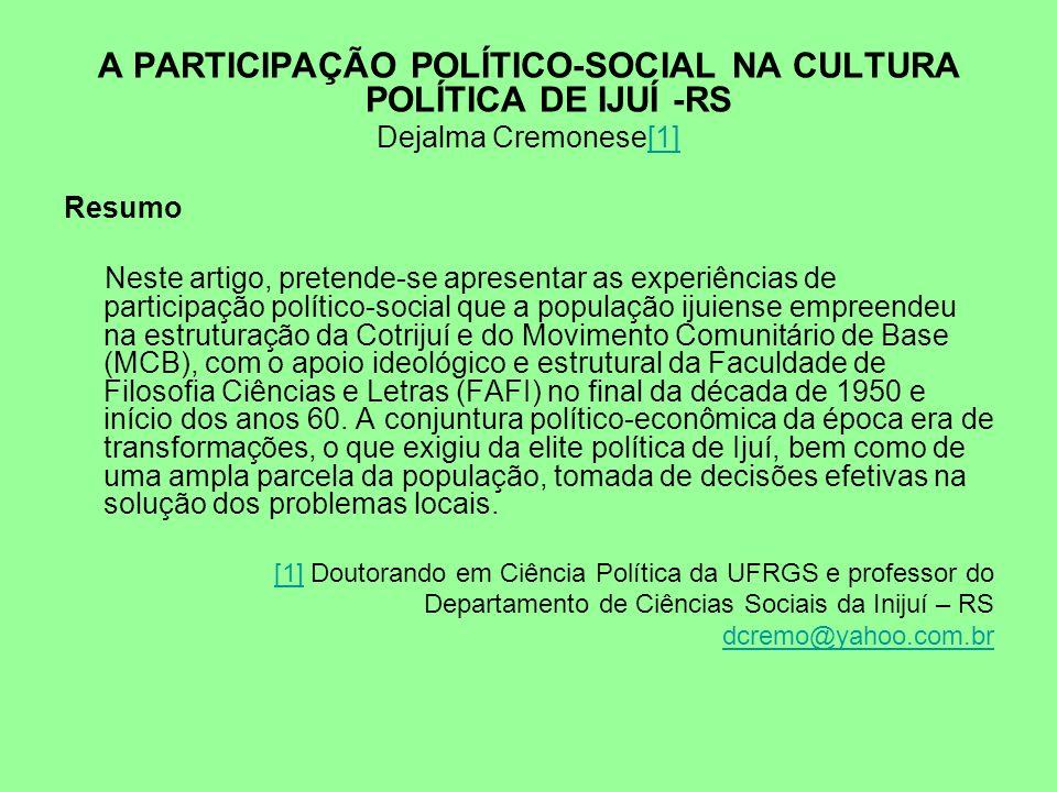 A PARTICIPAÇÃO POLÍTICO-SOCIAL NA CULTURA POLÍTICA DE IJUÍ -RS