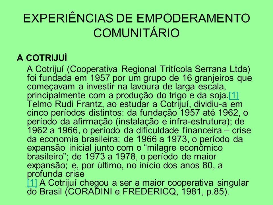 EXPERIÊNCIAS DE EMPODERAMENTO COMUNITÁRIO