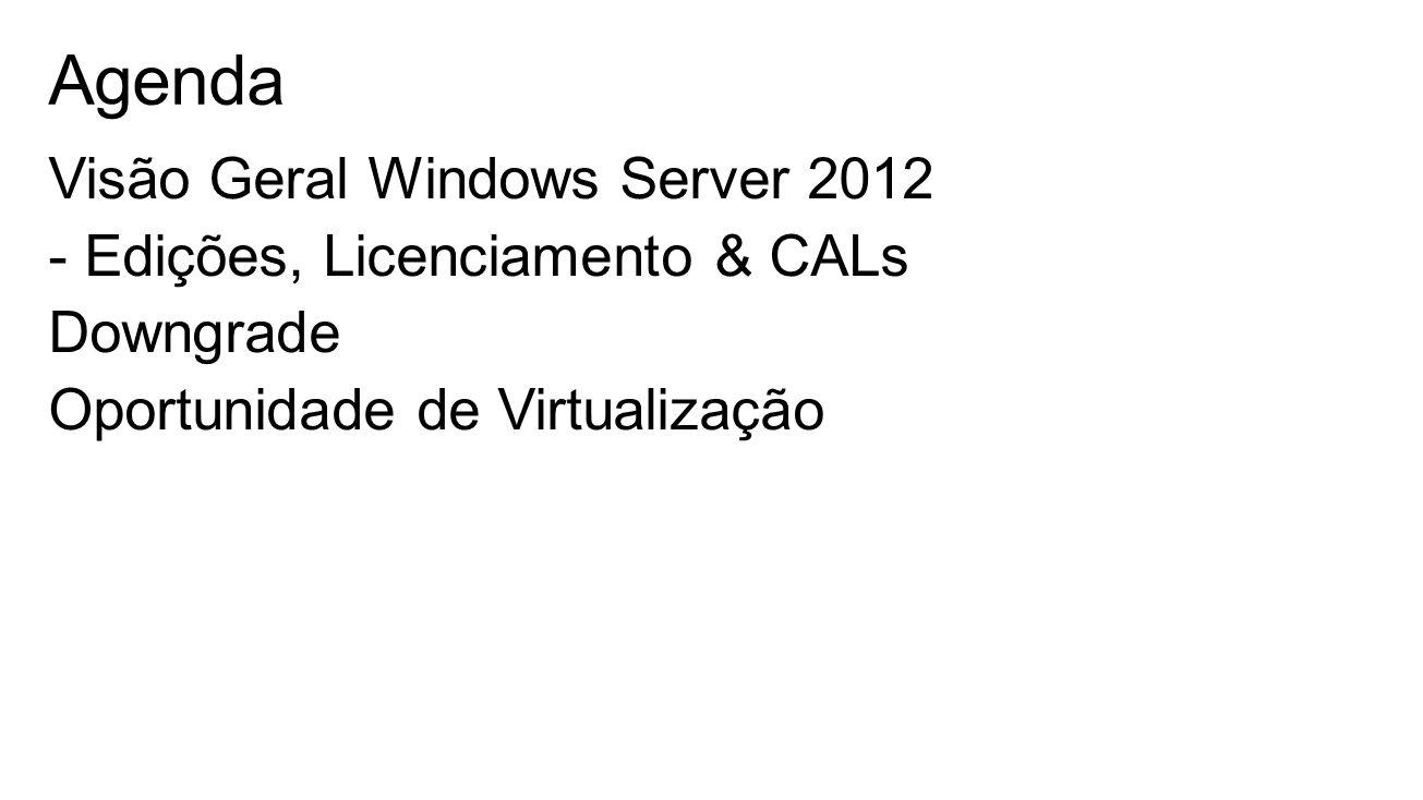 Agenda Visão Geral Windows Server 2012 - Edições, Licenciamento & CALs