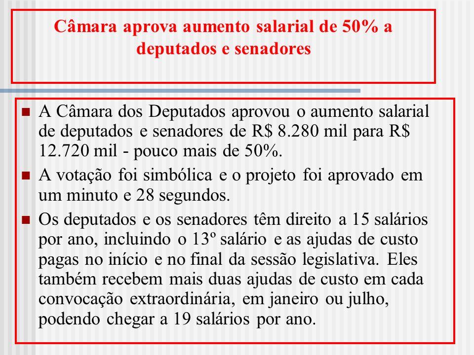 Câmara aprova aumento salarial de 50% a deputados e senadores