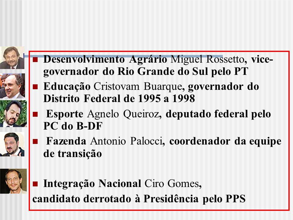 Desenvolvimento Agrário Miguel Rossetto, vice-governador do Rio Grande do Sul pelo PT