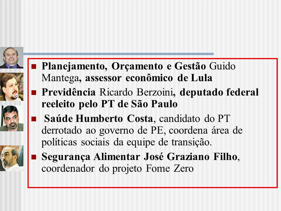 Planejamento, Orçamento e Gestão Guido Mantega, assessor econômico de Lula