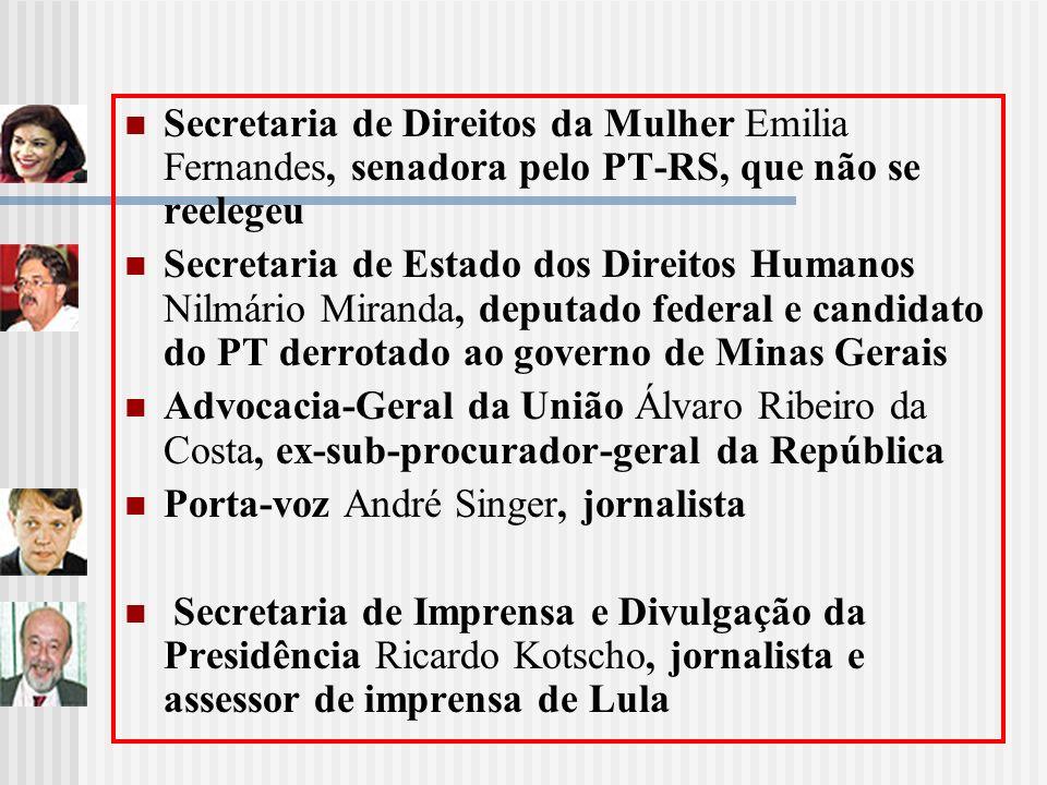 Secretaria de Direitos da Mulher Emilia Fernandes, senadora pelo PT-RS, que não se reelegeu