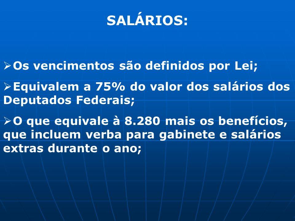SALÁRIOS: Os vencimentos são definidos por Lei;
