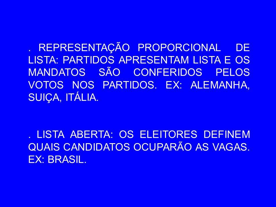 . REPRESENTAÇÃO PROPORCIONAL DE LISTA: PARTIDOS APRESENTAM LISTA E OS MANDATOS SÃO CONFERIDOS PELOS VOTOS NOS PARTIDOS. EX: ALEMANHA, SUIÇA, ITÁLIA.