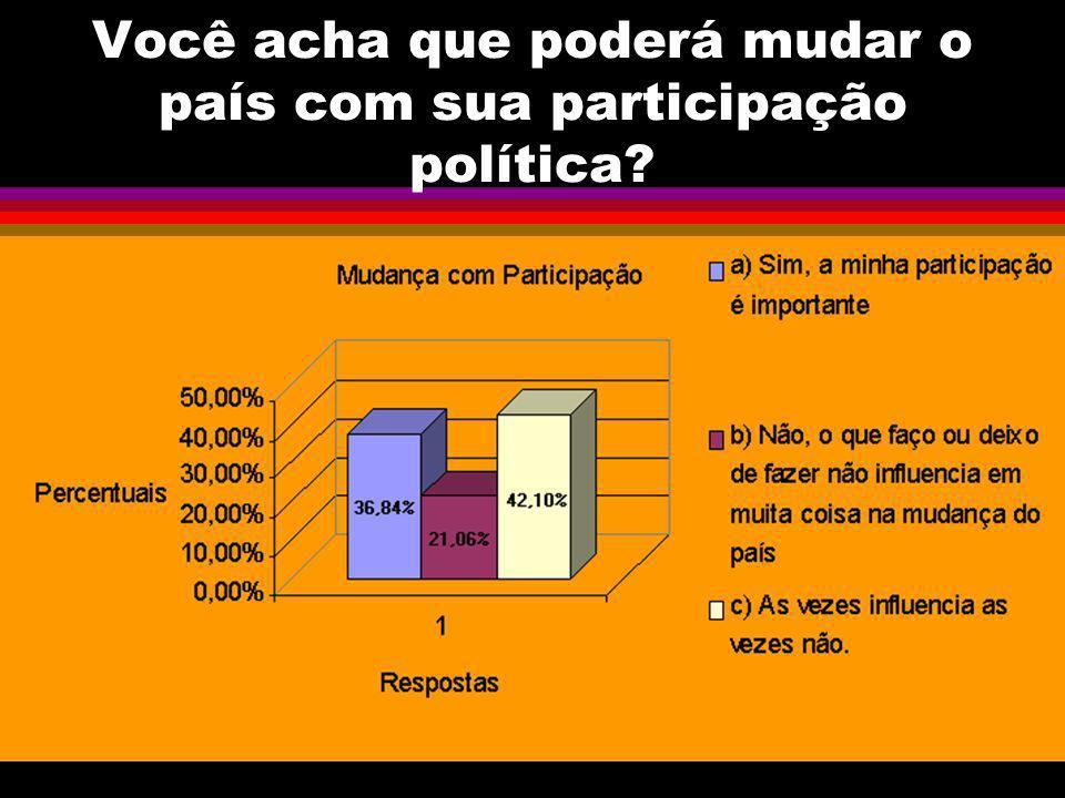 Você acha que poderá mudar o país com sua participação política