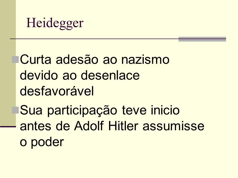Heidegger Curta adesão ao nazismo devido ao desenlace desfavorável
