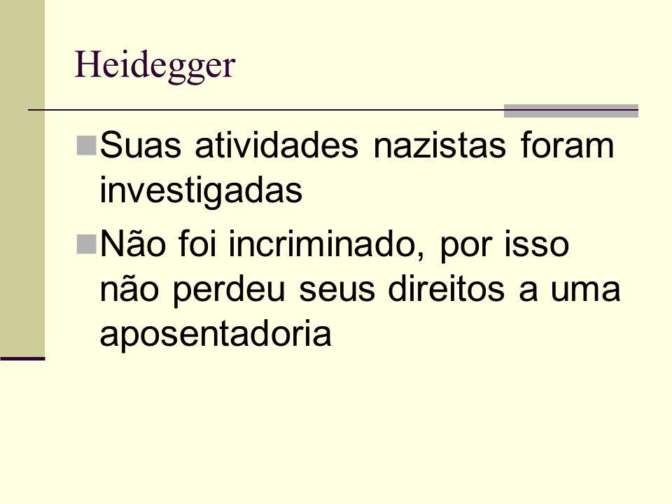 Heidegger Suas atividades nazistas foram investigadas