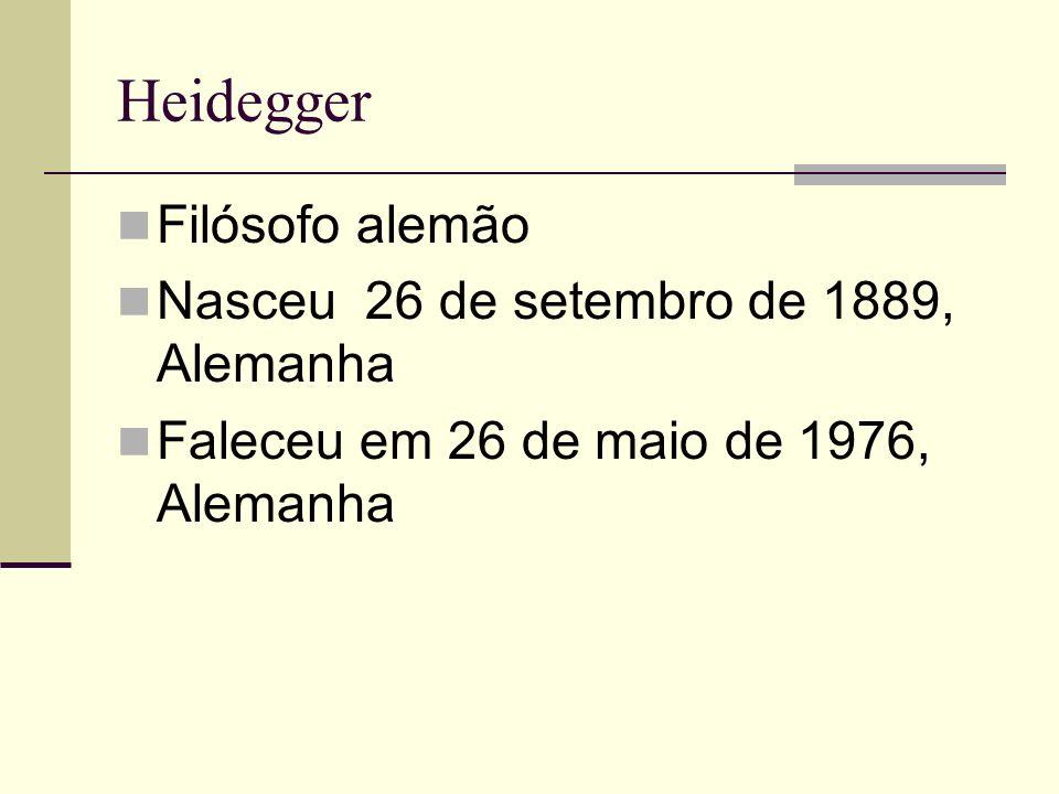 Heidegger Filósofo alemão Nasceu 26 de setembro de 1889, Alemanha