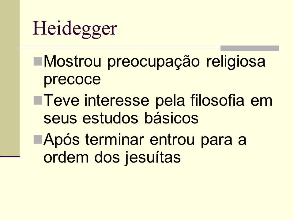 Heidegger Mostrou preocupação religiosa precoce