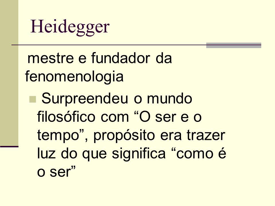 Heidegger mestre e fundador da fenomenologia