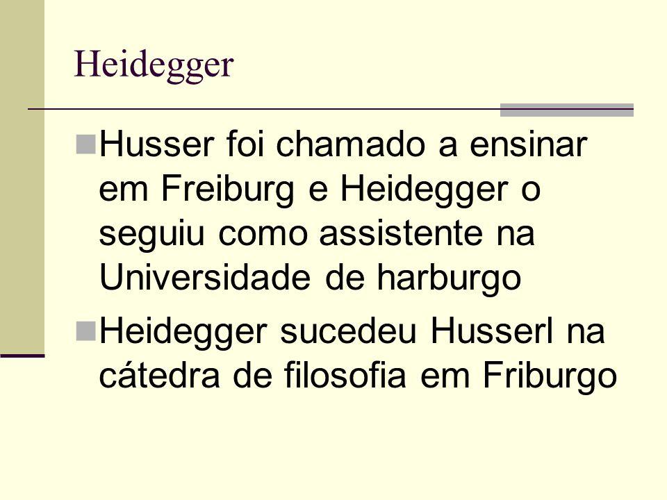 Heidegger Husser foi chamado a ensinar em Freiburg e Heidegger o seguiu como assistente na Universidade de harburgo.