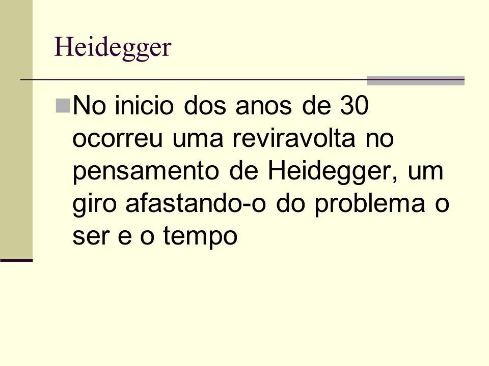 Heidegger No inicio dos anos de 30 ocorreu uma reviravolta no pensamento de Heidegger, um giro afastando-o do problema o ser e o tempo.