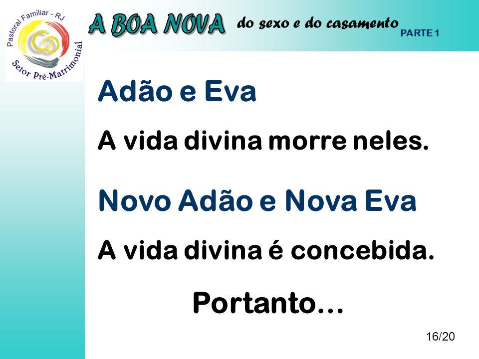Adão e Eva Novo Adão e Nova Eva Portanto… A vida divina morre neles.