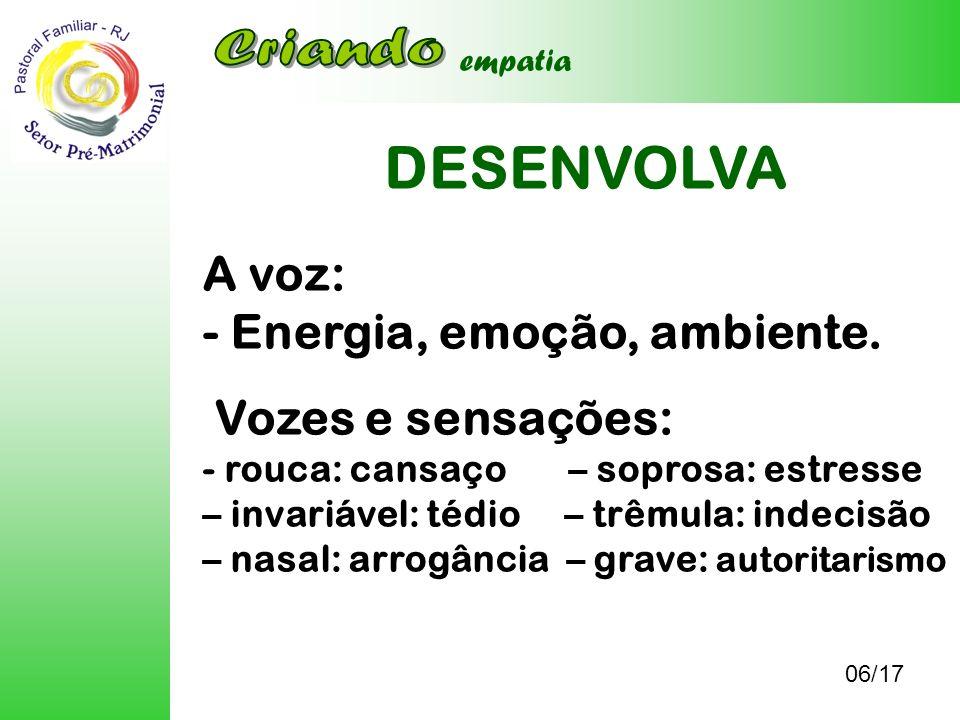 DESENVOLVA Criando A voz: - Energia, emoção, ambiente.