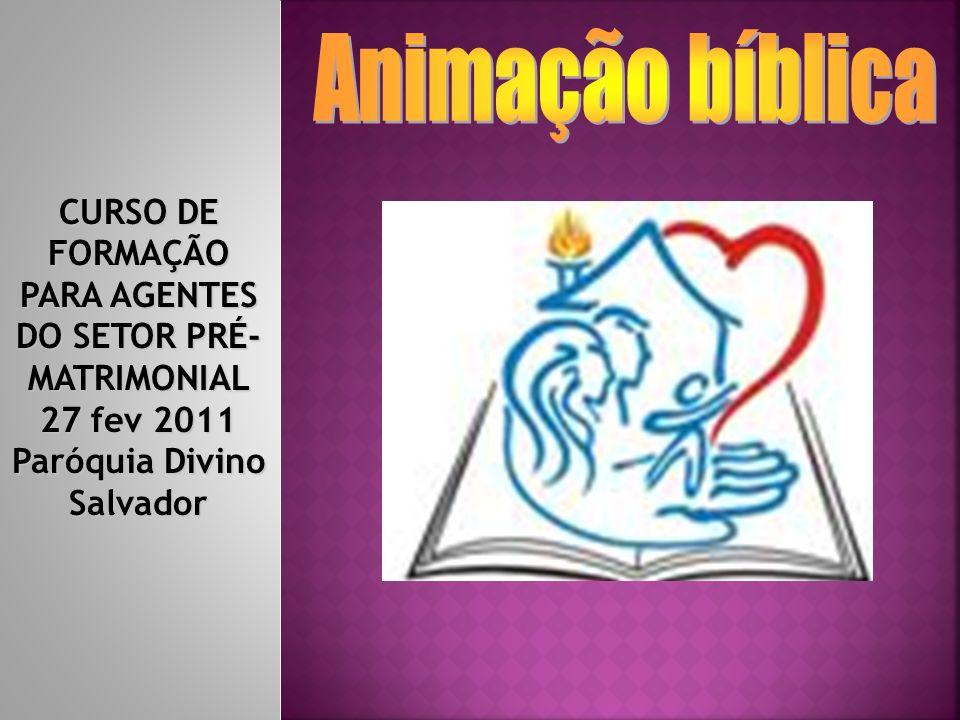 Animação bíblica CURSO DE FORMAÇÃO PARA AGENTES DO SETOR PRÉ-MATRIMONIAL 27 fev 2011 Paróquia Divino Salvador.