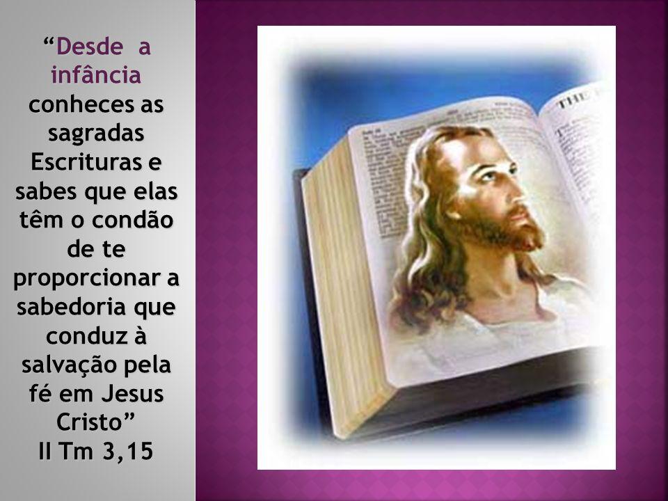 Desde a infância conheces as sagradas Escrituras e sabes que elas têm o condão de te proporcionar a sabedoria que conduz à salvação pela fé em Jesus Cristo