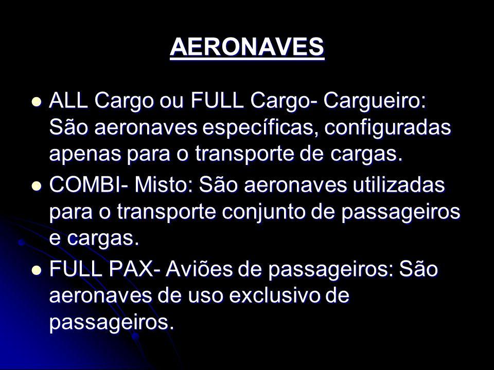 AERONAVES ALL Cargo ou FULL Cargo- Cargueiro: São aeronaves específicas, configuradas apenas para o transporte de cargas.