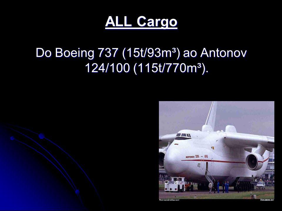 Do Boeing 737 (15t/93m³) ao Antonov 124/100 (115t/770m³).