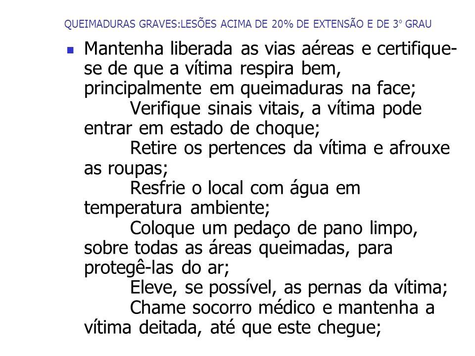 QUEIMADURAS GRAVES:LESÕES ACIMA DE 20% DE EXTENSÃO E DE 3º GRAU