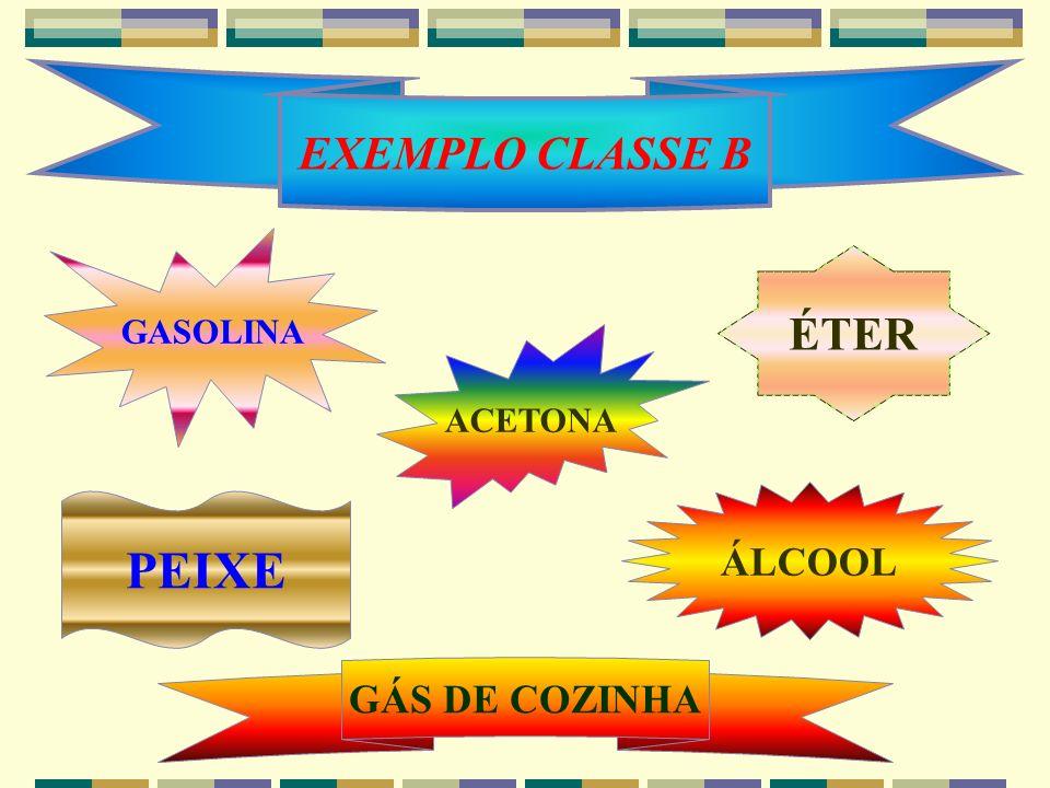 EXEMPLO CLASSE B GASOLINA ÉTER ACETONA ÁLCOOL PEIXE GÁS DE COZINHA