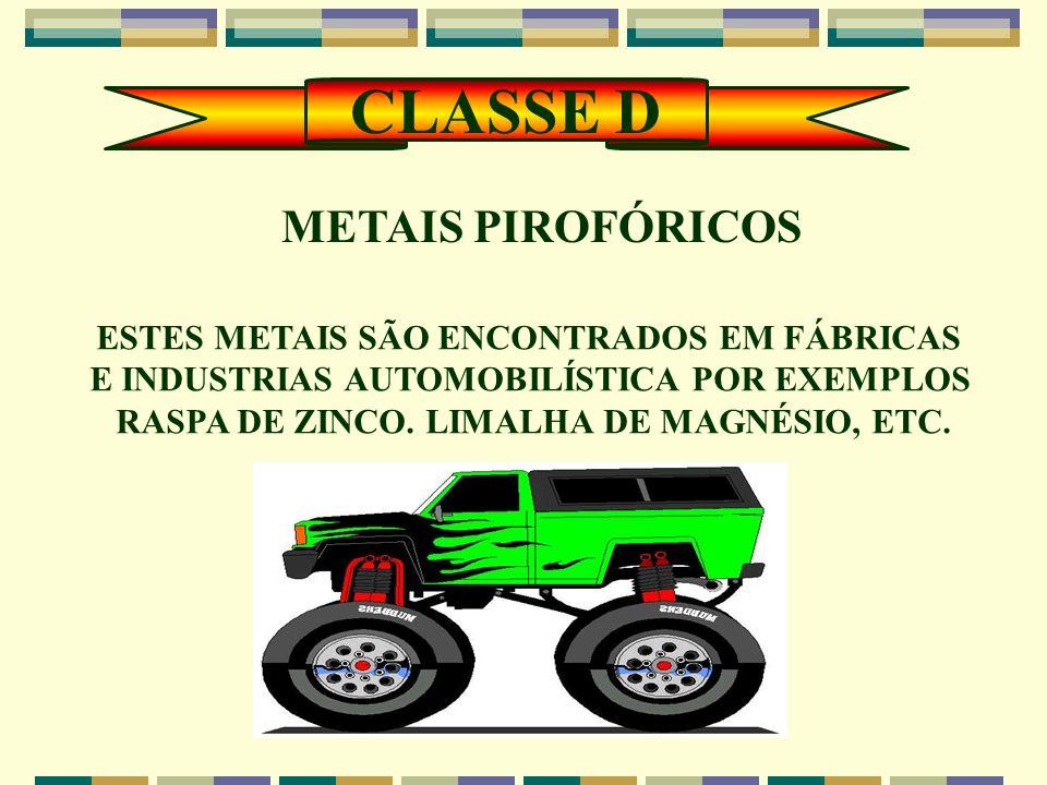 CLASSE D METAIS PIROFÓRICOS ESTES METAIS SÃO ENCONTRADOS EM FÁBRICAS