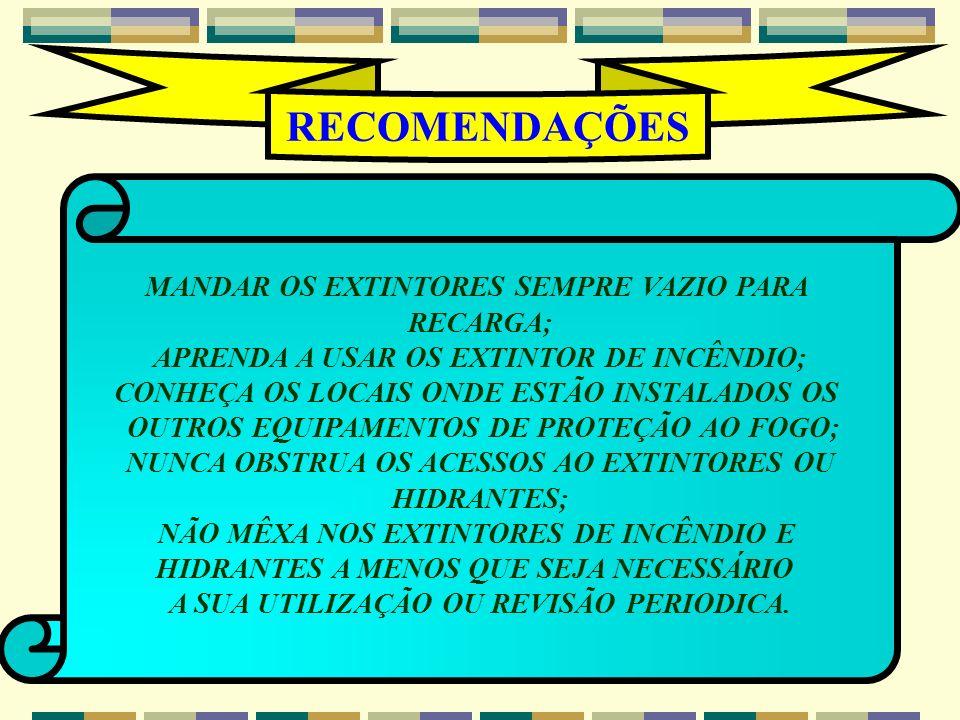 RECOMENDAÇÕES MANDAR OS EXTINTORES SEMPRE VAZIO PARA RECARGA;
