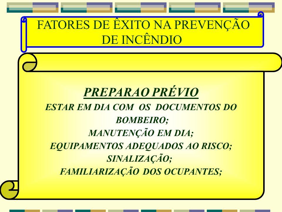 FATORES DE ÊXITO NA PREVENÇÃO DE INCÊNDIO