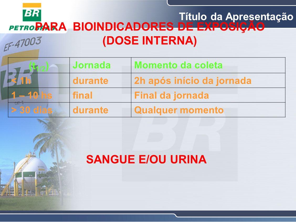 PARA BIOINDICADORES DE EXPOSIÇÃO (DOSE INTERNA)