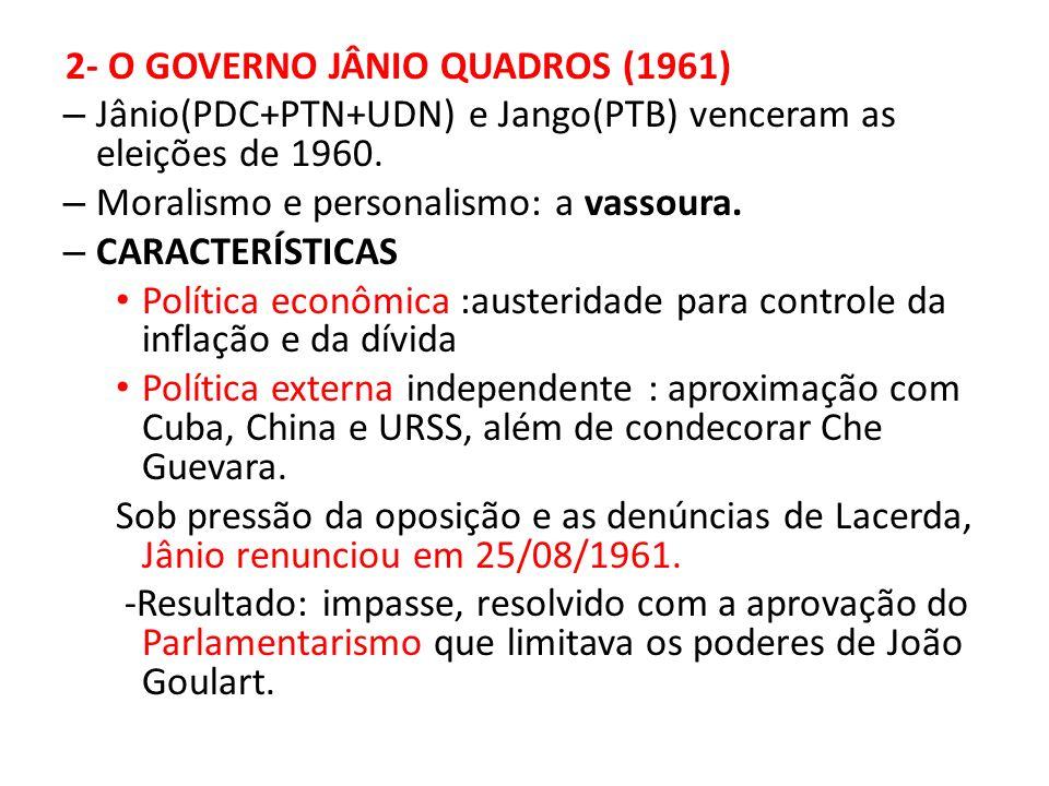 Jânio(PDC+PTN+UDN) e Jango(PTB) venceram as eleições de 1960.