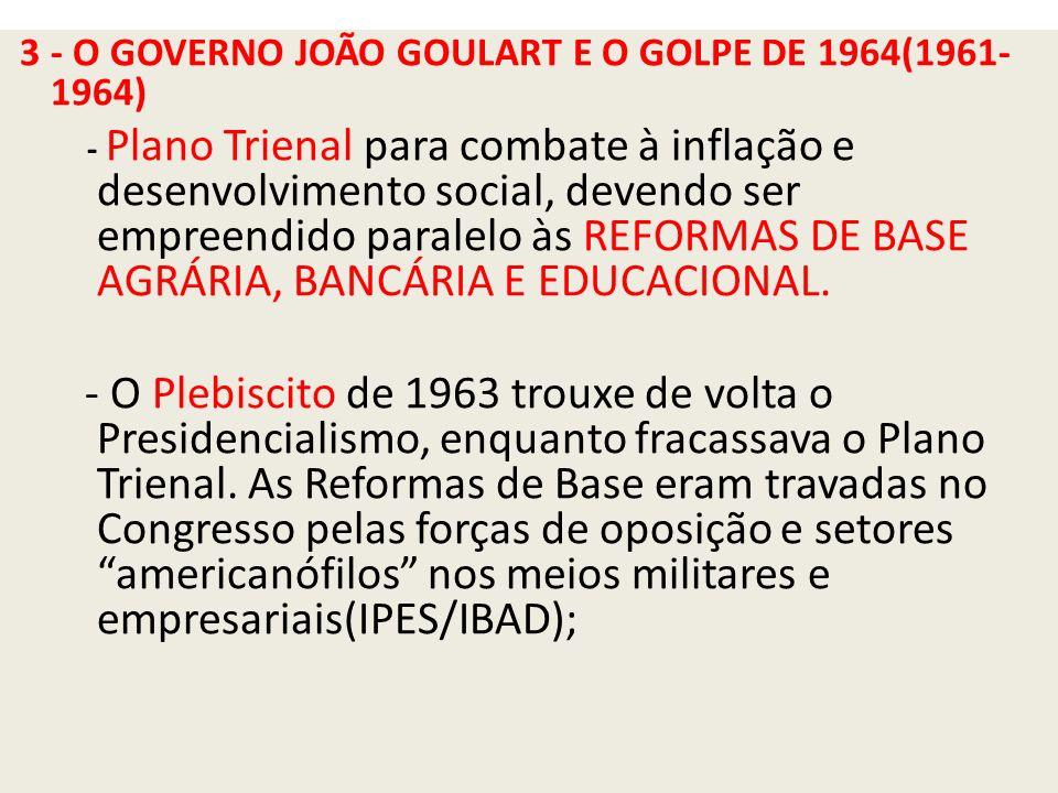 3 - O GOVERNO JOÃO GOULART E O GOLPE DE 1964(1961-1964)