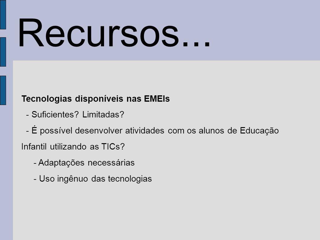 Recursos... Tecnologias disponíveis nas EMEIs