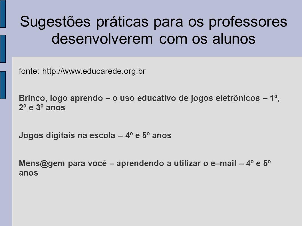 Sugestões práticas para os professores desenvolverem com os alunos