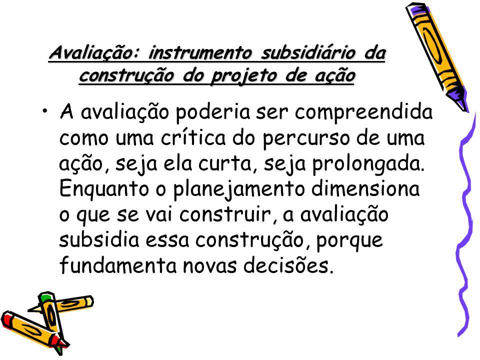 Avaliação: instrumento subsidiário da construção do projeto de ação