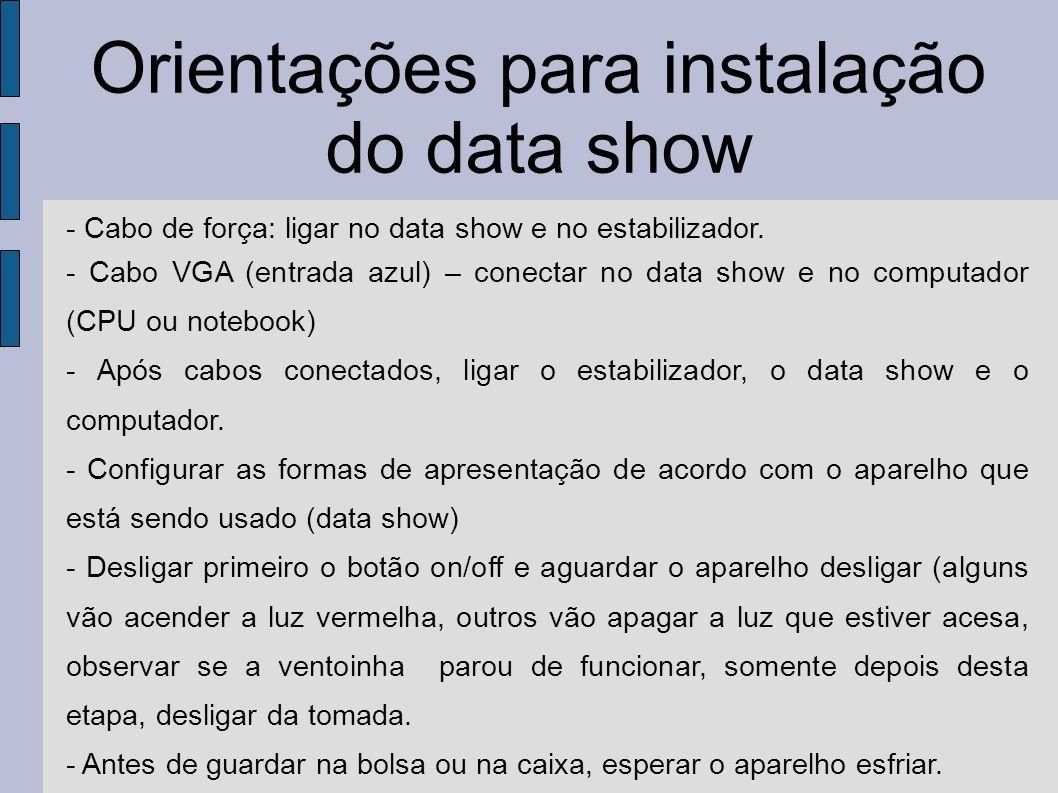 Orientações para instalação do data show