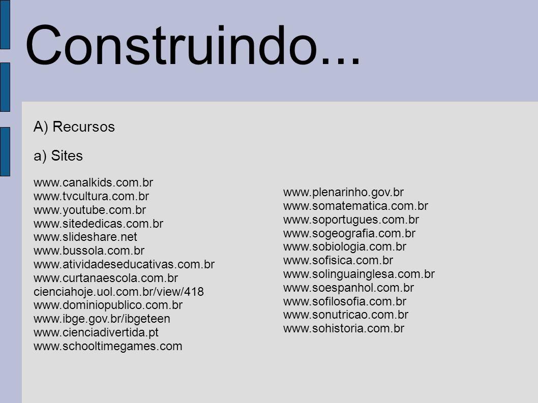 Construindo... A) Recursos a) Sites www.canalkids.com.br
