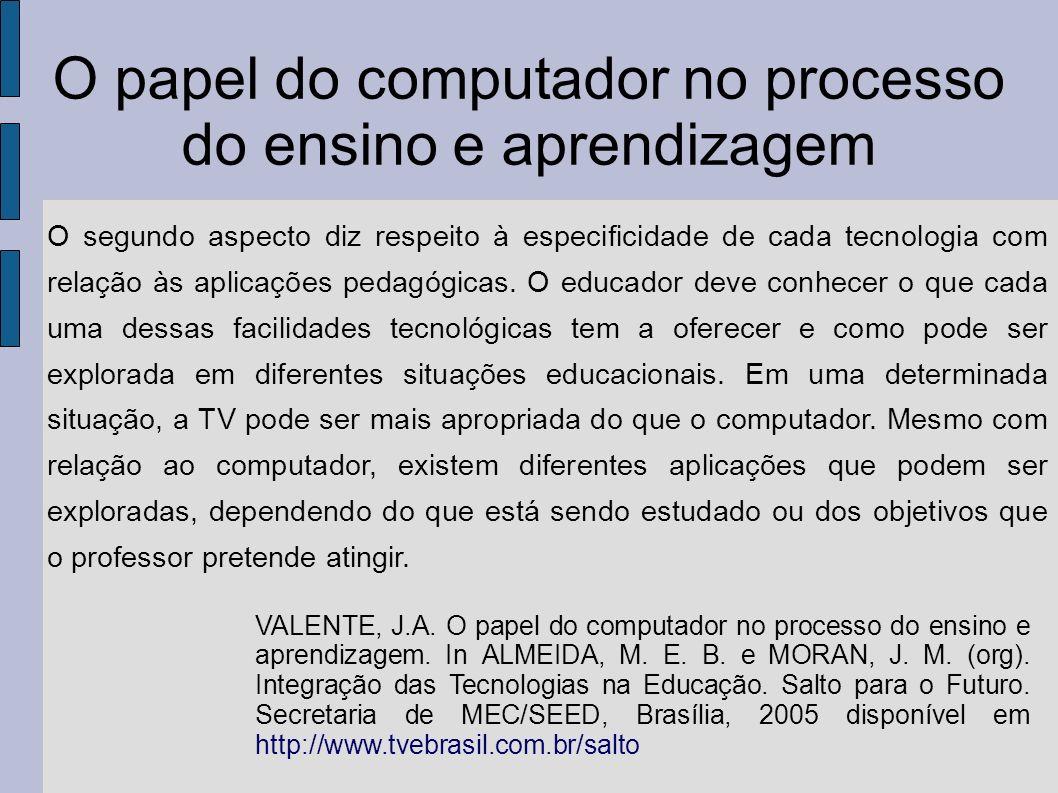 O papel do computador no processo do ensino e aprendizagem