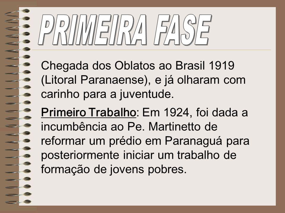 PRIMEIRA FASEChegada dos Oblatos ao Brasil 1919 (Litoral Paranaense), e já olharam com carinho para a juventude.