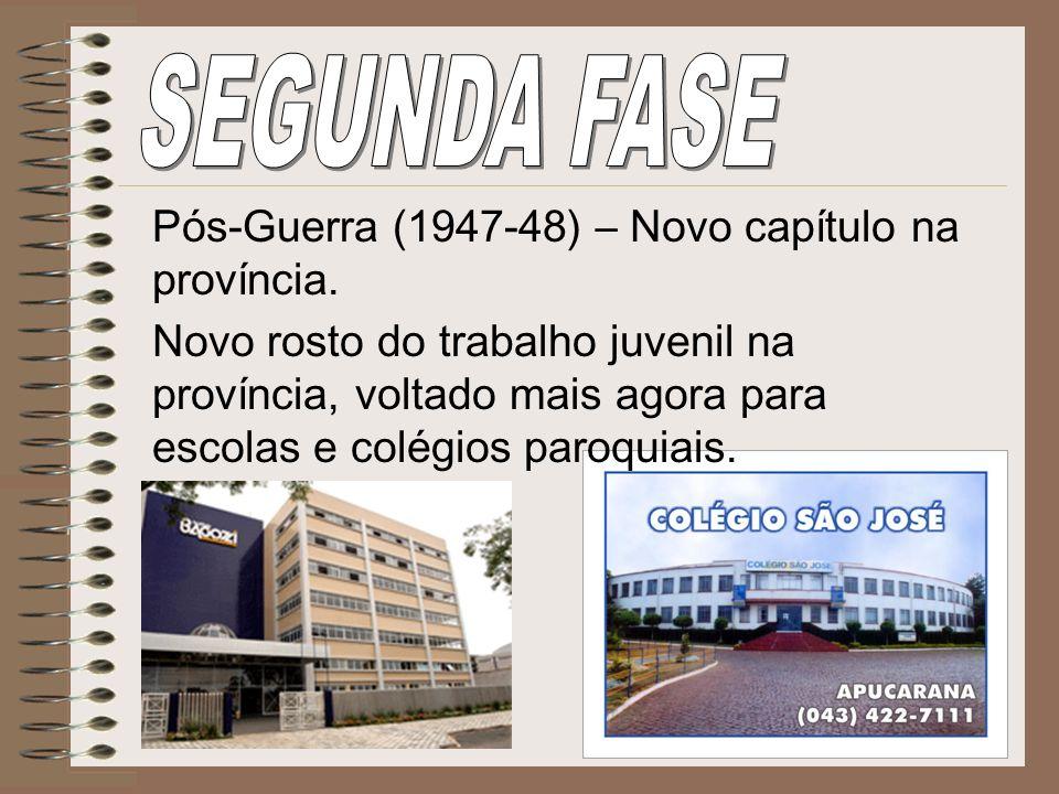 SEGUNDA FASE Pós-Guerra (1947-48) – Novo capítulo na província.