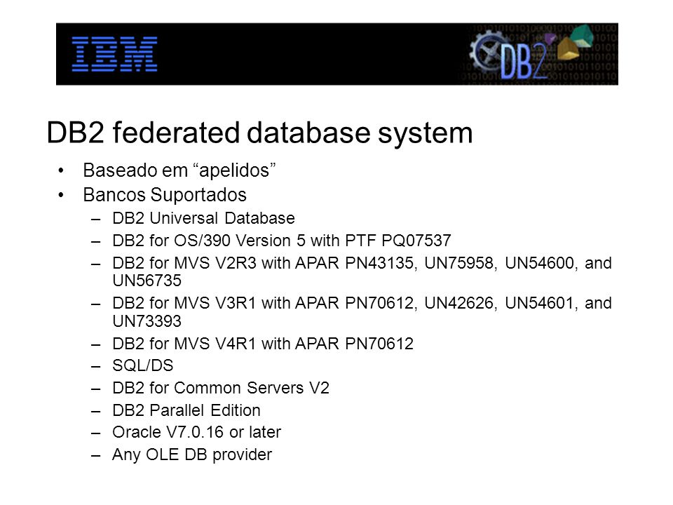 DB2 federated database system