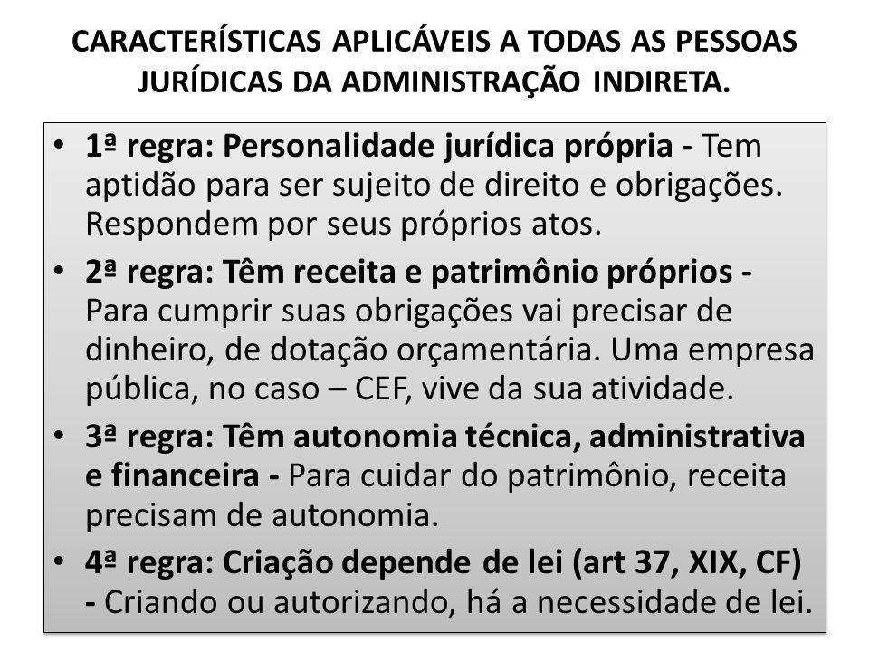 CARACTERÍSTICAS APLICÁVEIS A TODAS AS PESSOAS JURÍDICAS DA ADMINISTRAÇÃO INDIRETA.