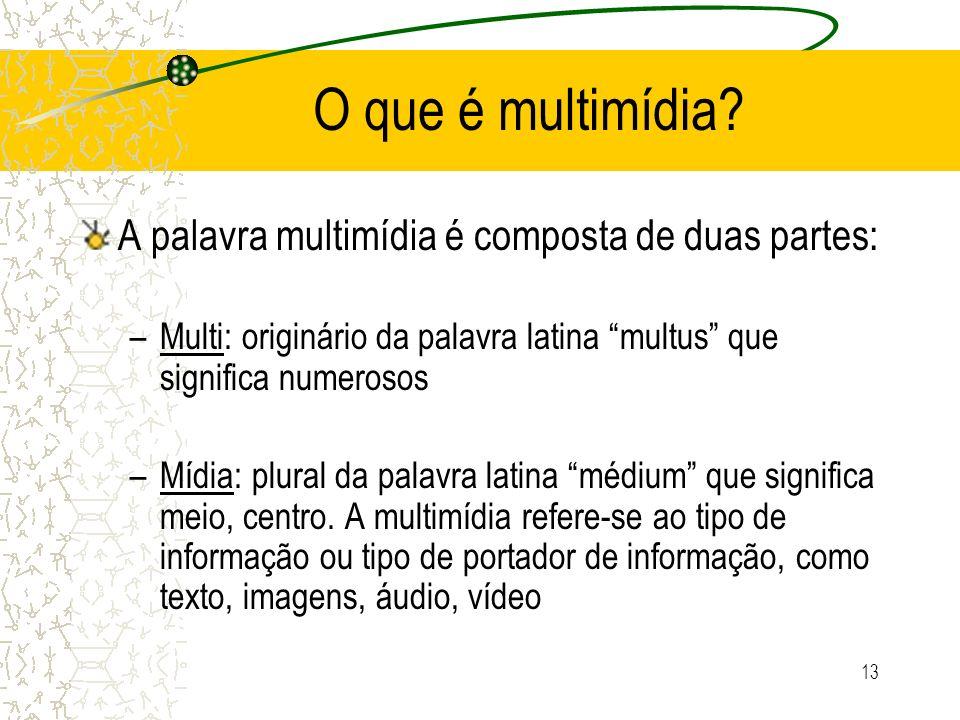 O que é multimídia A palavra multimídia é composta de duas partes: