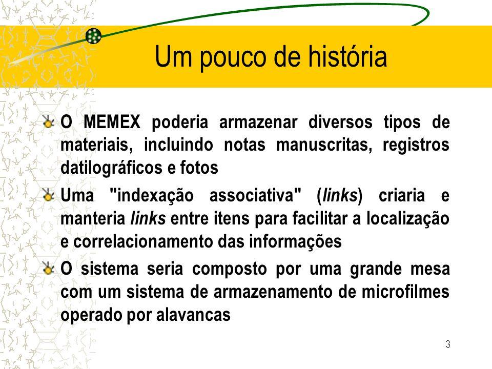 Um pouco de história O MEMEX poderia armazenar diversos tipos de materiais, incluindo notas manuscritas, registros datilográficos e fotos.