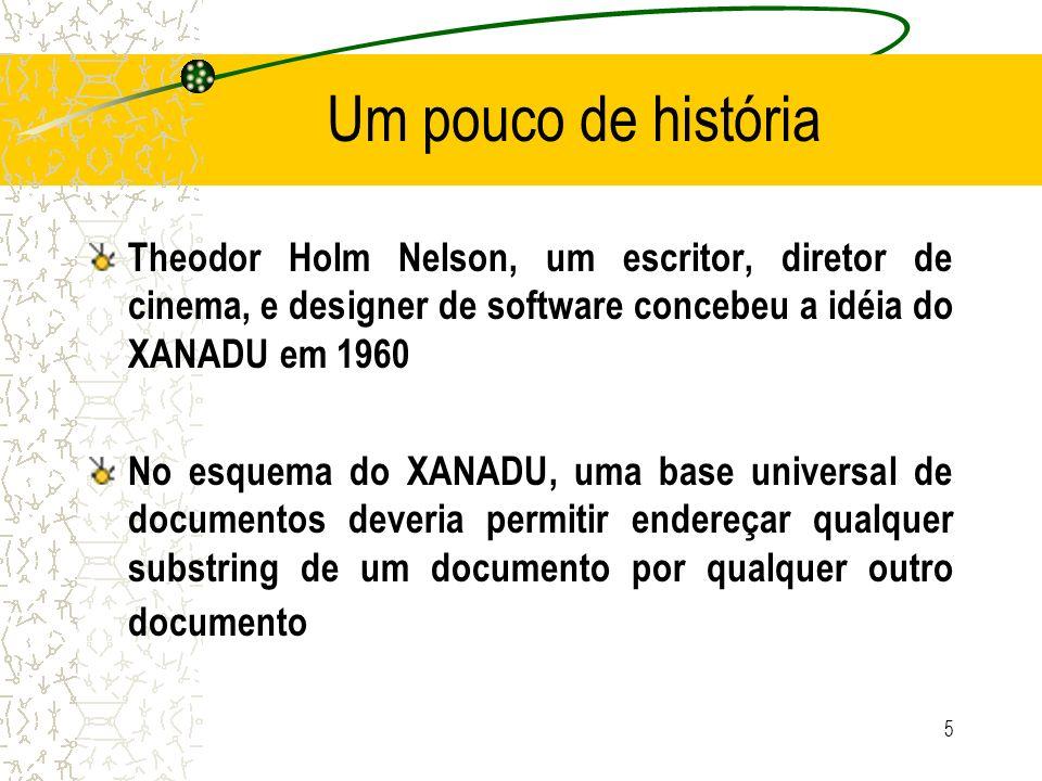Um pouco de história Theodor Holm Nelson, um escritor, diretor de cinema, e designer de software concebeu a idéia do XANADU em 1960.
