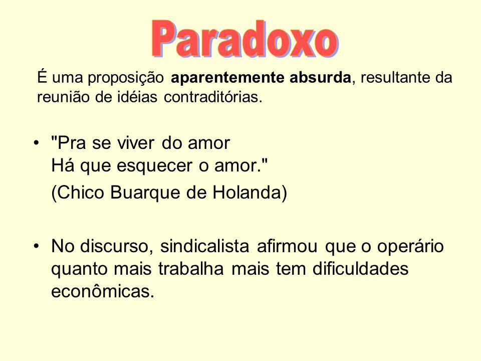 Paradoxo Pra se viver do amor Há que esquecer o amor.