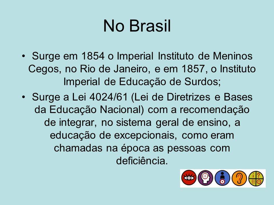 No BrasilSurge em 1854 o Imperial Instituto de Meninos Cegos, no Rio de Janeiro, e em 1857, o Instituto Imperial de Educação de Surdos;